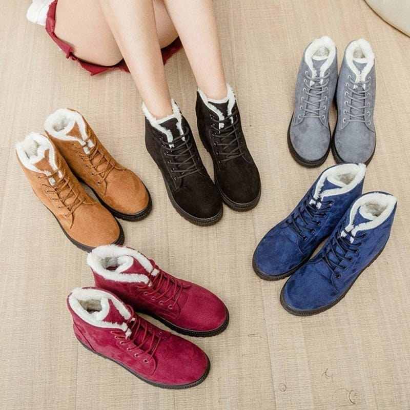 the faux suede lace-up boots with faux shearling inside in red, brown, black, grey, and blue