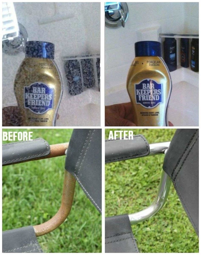 """Get the set from Amazon for $14.95.Promising review: (I know it's super long, but it has great cleaning ideas!) """"Brilliant product! So far, I've used it in four areas that were giving me trouble and driving me nuts. First, I applied the liquid to my smooth-top range, quickly removed all spill remnants, and when I rinsed the surface, it gleamed — much better than any cleaner I've tried so far. Next, I used the cleanser on my bathroom faucets, which looked terrible. They had water spots that wouldn't fade with anything I tried. I was seriously considering replacing them as they looked dated and old, but I made a paste with the cleanser and used the non-scratch dish cloth, and with virtually no scrubbing at all, every water spot completely vanished! Then, I applied the cleanser to my glass shower door, which was heavily coated in soap scum and water spots, streaks, and film. It took a bit of scrubbing with the non-scratch cloth, but the door was dramatically improved by about 75%. Finally, I used the cleanser in my toilet bowls, which had hard water discoloration, sort of a dark yellowish-orange color where the water comes into the toilet bowl. I just sprinkled it onto the stains and left to do something else, intending to come back and use the toilet bowl brush to scrub the stains; however, when I returned, they were all GONE. The stains had completely vanished! I was truly gobsmacked! I didn't even scrub the areas. The stains had not budged with foaming bleach sprays, cleansers with bleach, etc., so I am more than pleased with Bar Keeper's Friend. I'm planning to keep some on hand from now on, and I have recommended this product to my family."""" —History Chaser"""