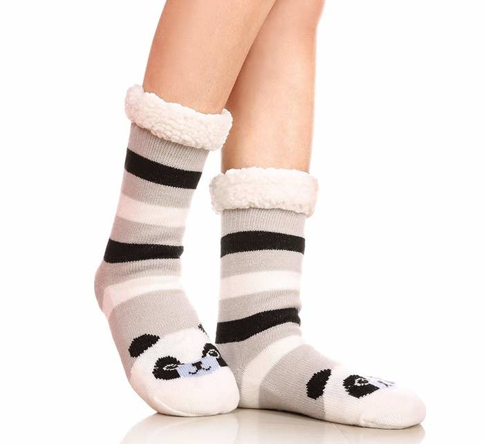"""Get them from Amazon for $9.99+ (available in 15 animals, some animals over $10).Promising review: """"My wife absolutely loves these. She puts them on as soon as she gets home from work. Not only does she think that they are super cute but very comfortable and cozy as well. The little grips on the bottom keep her from slipping around on the wood floors in our home."""" —Jason A. McGregor"""
