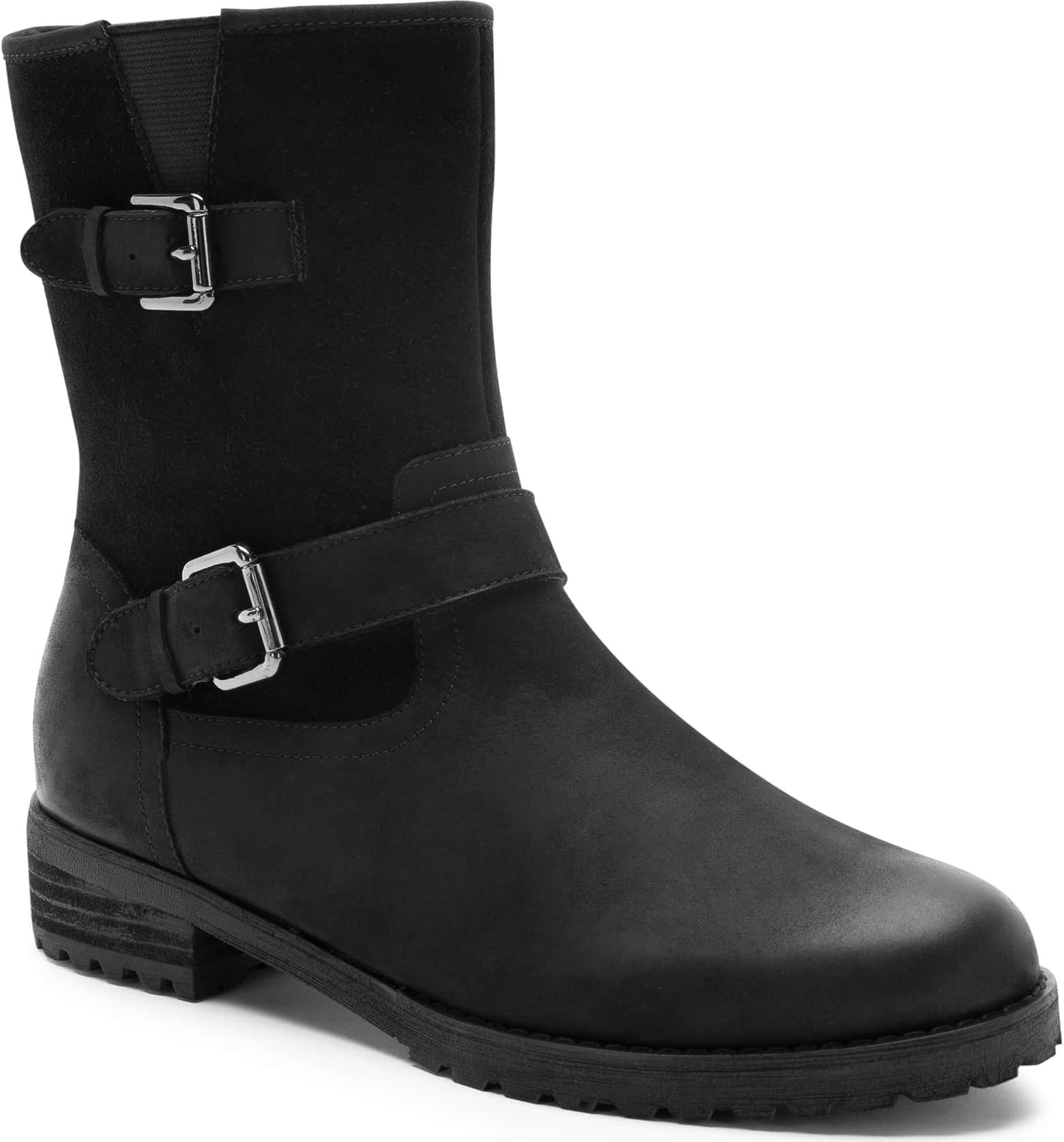 the black boot with buckle around the ankle