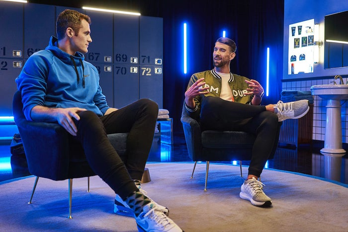 "This month, in support of Movember, Love hosted a webisode series titled ""Locker Room Talk"" featuring heart-to-hearts with athletic greats like Michael Phelps."