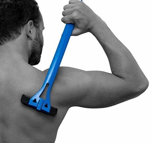 person using the back shaver