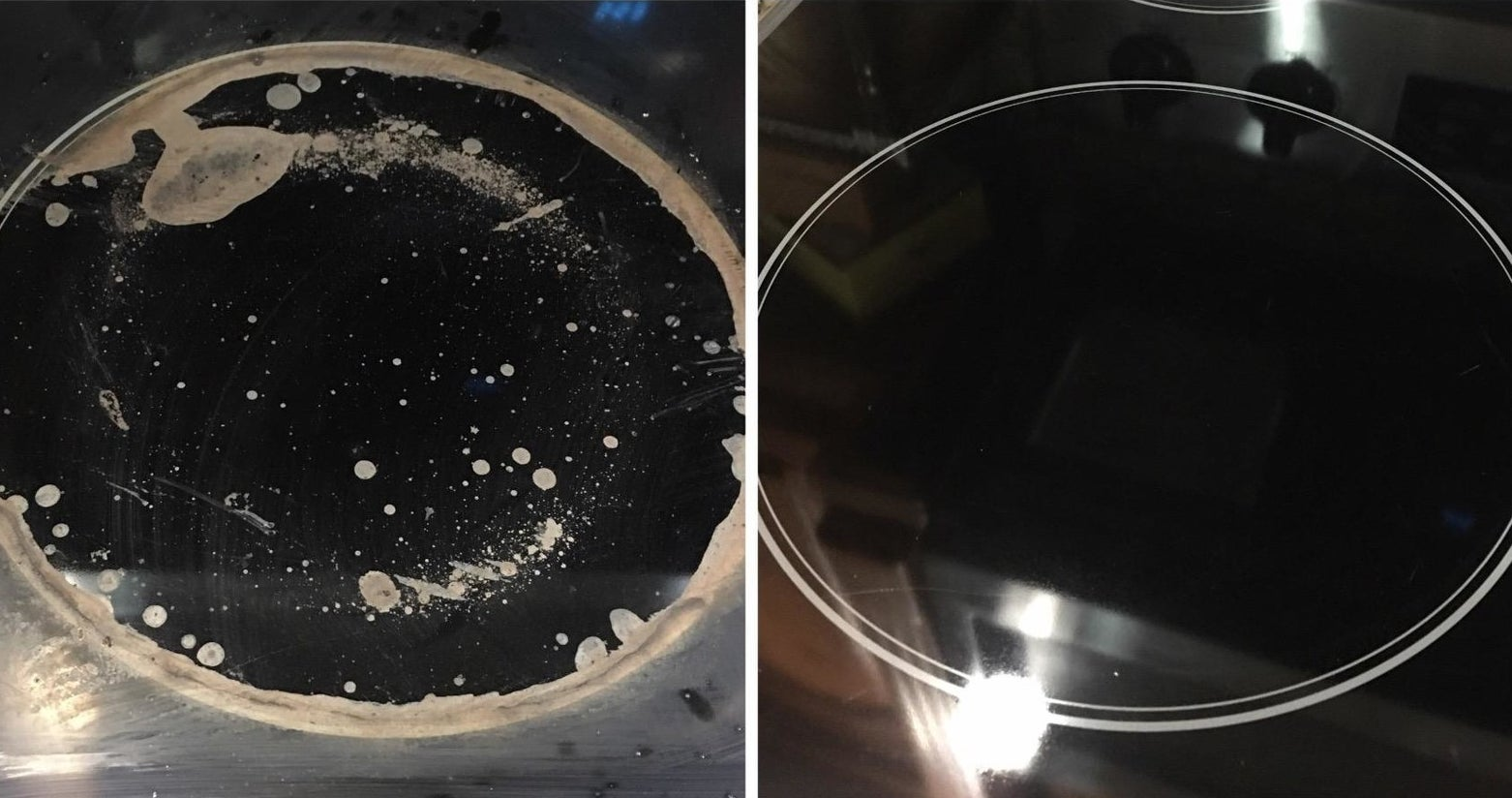 A reviewer showing a glass stove burner with buildup stains looking cleaner and shinier after using the product