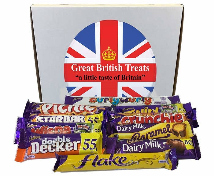 """Comes with one Curly Wurly, one Picnic, one Twirl, one Starbar, one Crunchie, one Wispa, one Dairy Milk Caramel, one Double Decker, one Dairy Milk, and one Flake.Promising review: """"Just received several days ahead of estimated delivery which was very nice. All the chocolates/candy are very freshly dated and were protected by the packaging. The box itself was a bit dented but everything inside was perfect. I am very happy with this purchase. Several years ago, I went to a local British store and bought about $40 worth of candy for a British vs. American 'taste-off' for the kids, (we would read a book and then try to eat meals/snacks like the characters for a new experience). This was so much less expensive and I saved myself the two hour round-trip drive. Can't wait to show the kids and remind them of that taste-off picnic!"""" —dpPrice: $13.79"""