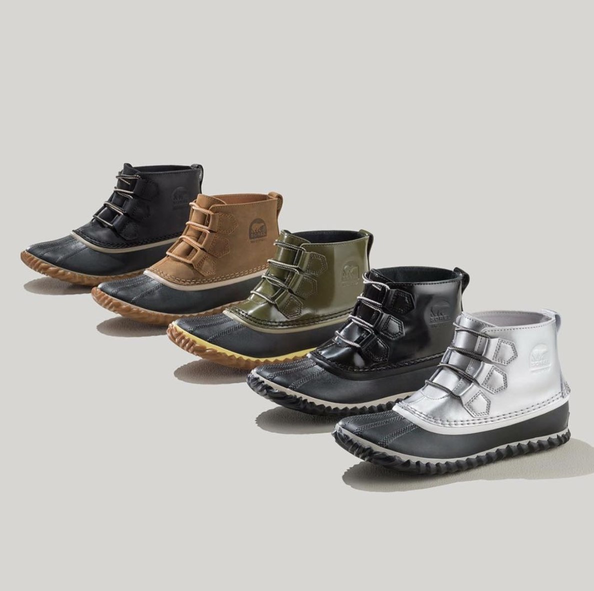 five of the short bootie with laces and rubber soles in black, brown, green, black, and silver