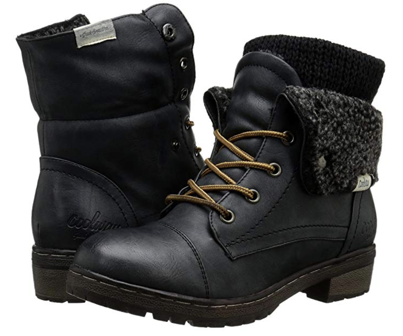 Black lace-up boots with a foldable flap that shows a shearling inside and knit second layer