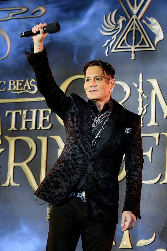 Depp at the UK premiere of The Crimes of Grindelwald.
