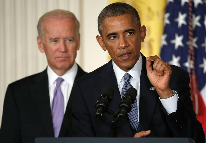 """President Barack Obama, with Vice President Joe Biden behind him, speaks at the launch of the """"It's on Us"""" public awareness campaign to help prevent campus sexual assault, on Sept. 19, 2014."""