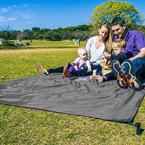 Family of models sitting on the tarp in a park