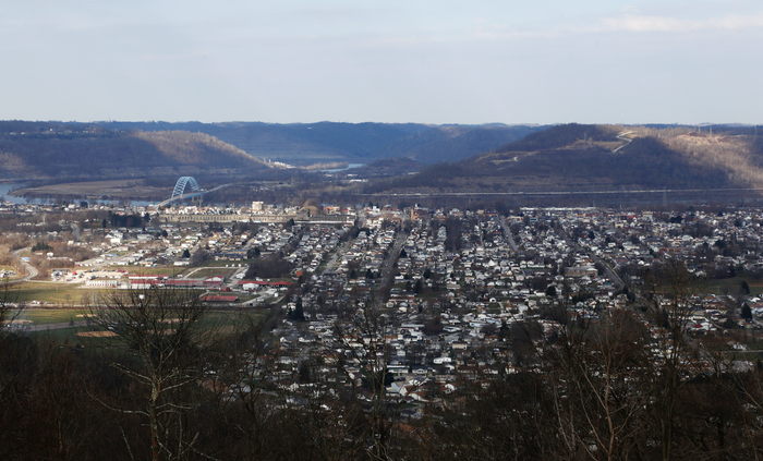 A view of Moundsville from a nearby farm.