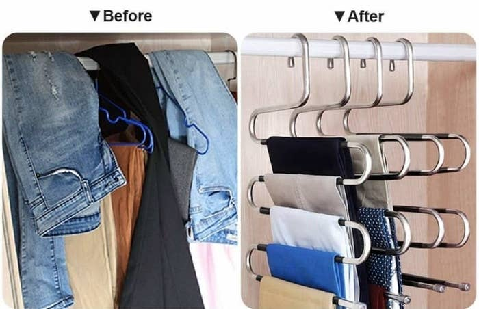 before: pants packed into a closet on individual hangers; after: five pants layered to a hanger with room to spare