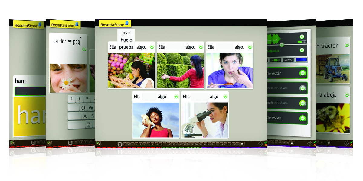 Screens showing the different language activities
