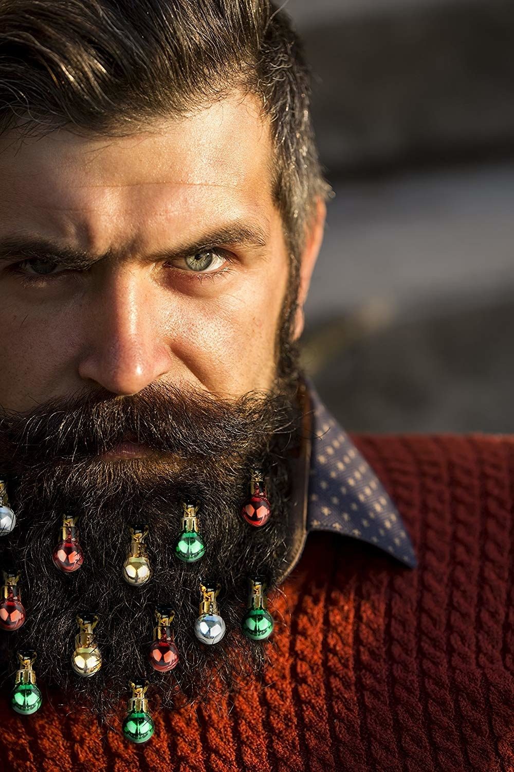 model with small baubles in beard