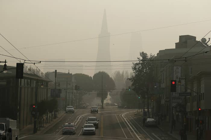 The Transamerica Pyramid in San Francisco is obscured by smoke and haze from wildfires on Friday.