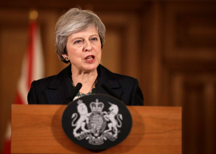 Theresa May holds a news conference at Downing Street.