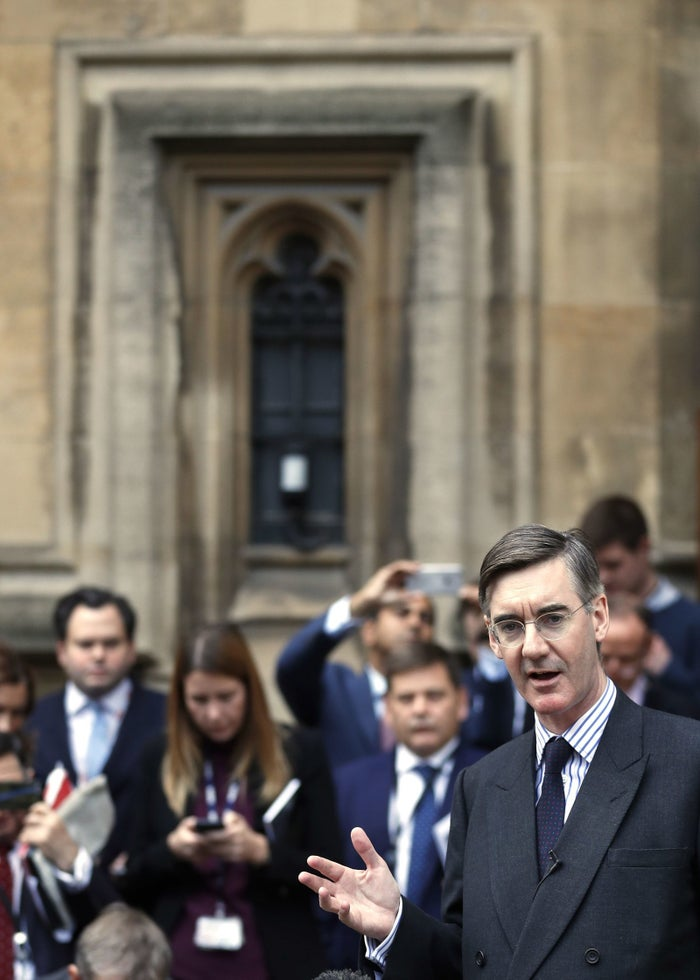 Jacob Rees-Mogg speaks from St Stephen's Entrance at the Houses of Parliament.