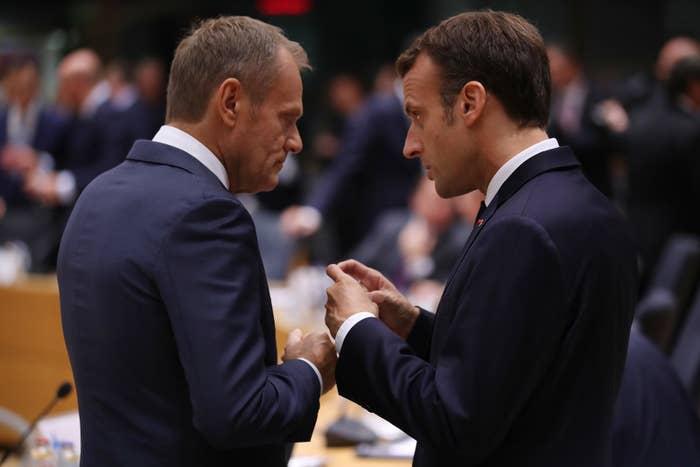 European Council president Donald Tusk and French president Emmanuel Macron.