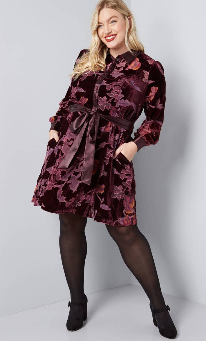 c92e895581e A velvet shirt dress you can spill a ton of mulled wine on without anyone  ever knowing!