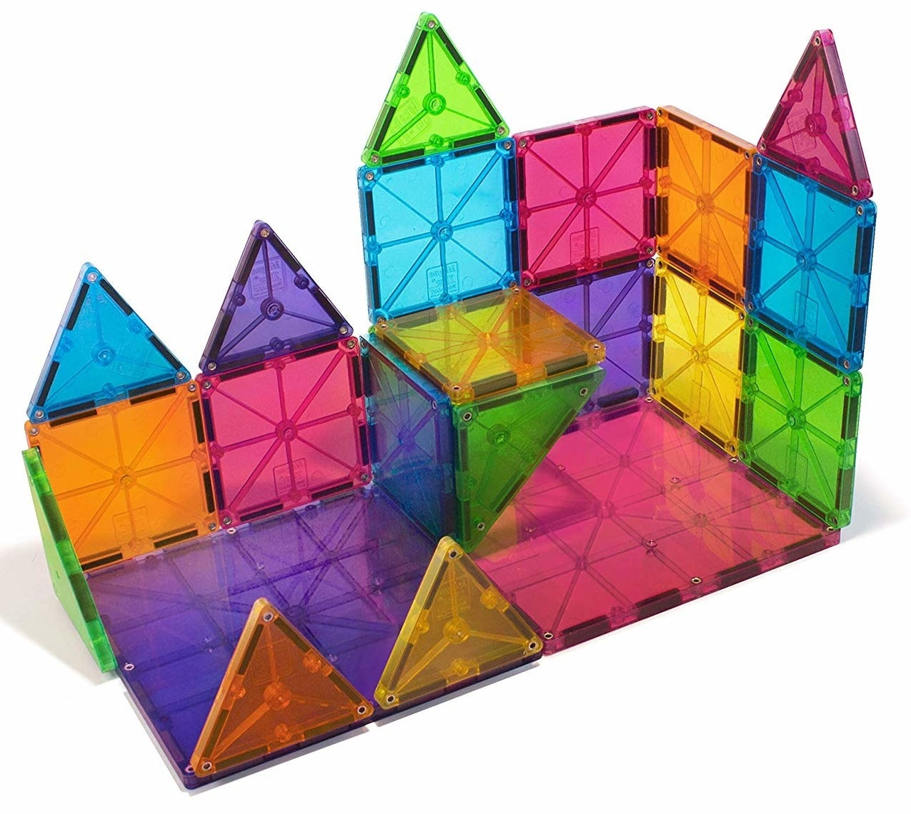 multicolored square and triangular magnetic tiles fashioned into a tower