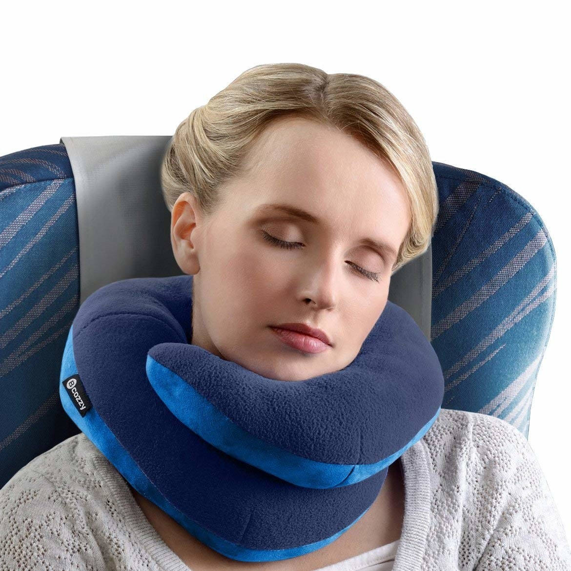 Model using the pillow on a plane, wrapped around their neck with a double layer in front