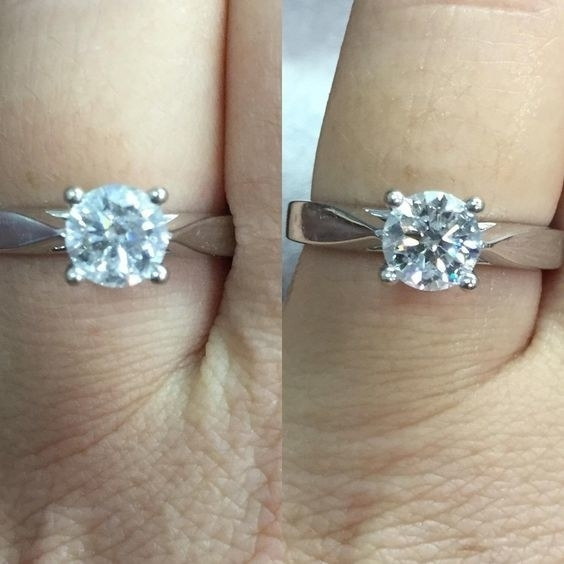 a before and after of a ring thats cloudy and then a ring that sparkles clear