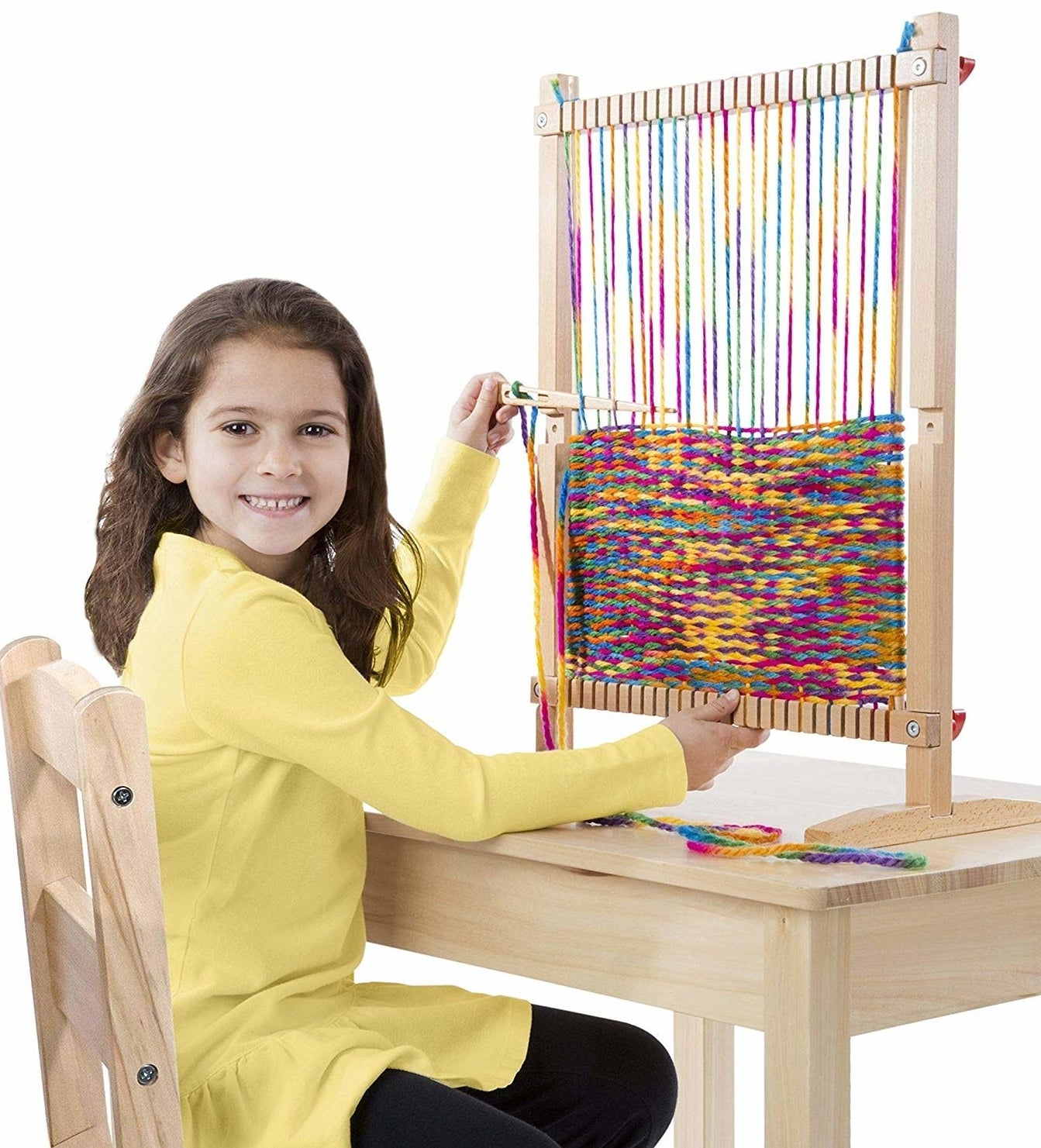 model using upright loom