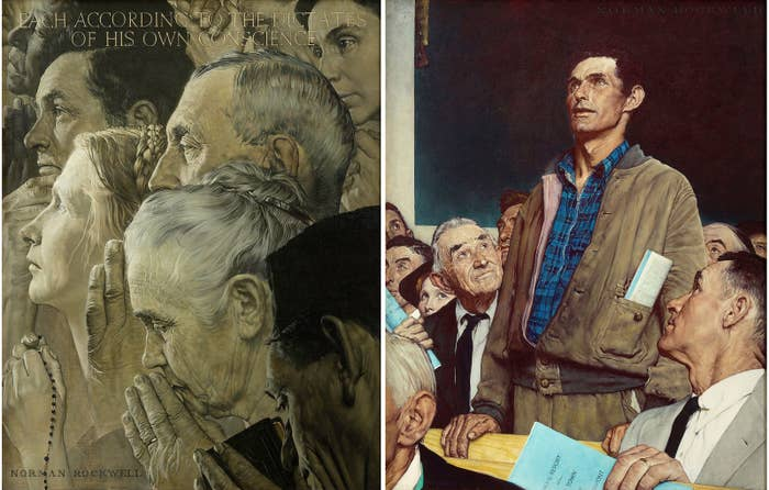 Left: Norman Rockwell, Freedom of Worship, 1943. Right: Norman Rockwell, Freedom of Speech, 1943.