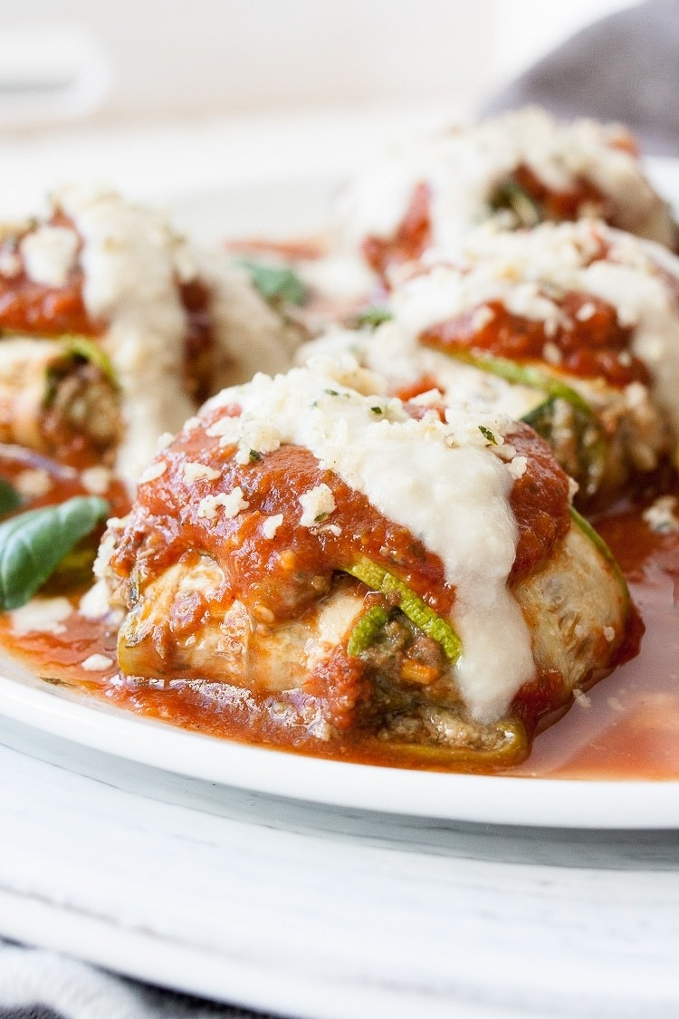 You can always opt for store-bought ricotta cheese (or a vegan cashew version) to save time. Fold the ricotta up in thinly sliced zucchini purses and bake them in marinara sauce for a low-carb dinner you'll crave time and time again. Get the recipe.