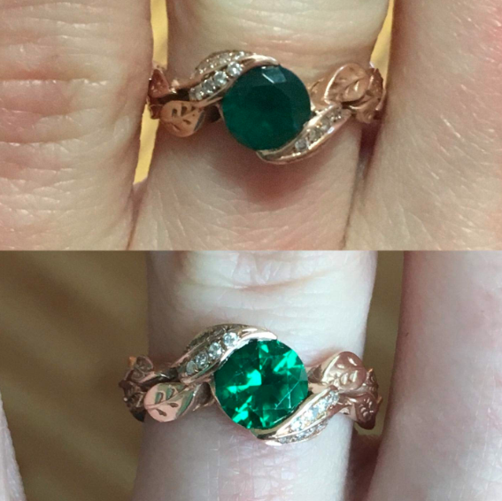 Before: a reviewer's dull, dirty, cloudy emerald ring and After: the same ring, now clean and sparkling
