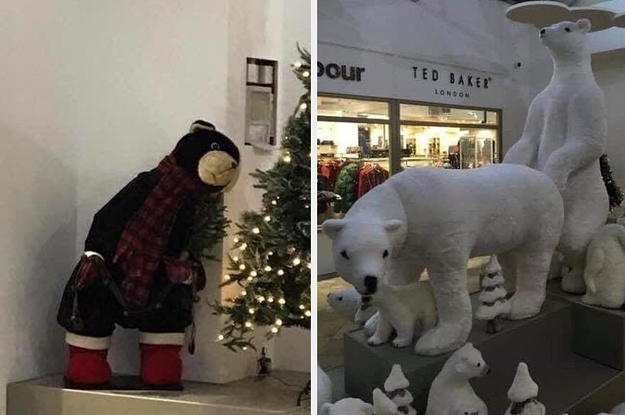 This Christmas Display Featured Two Polar Bears In A Very Adult Position And People Are Either Shocked Or Amused