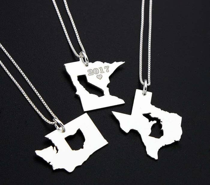 fc845e04f A sterling silver long-distance necklace with one state engraved into  another, because now they can literally always keep you close to their heart .