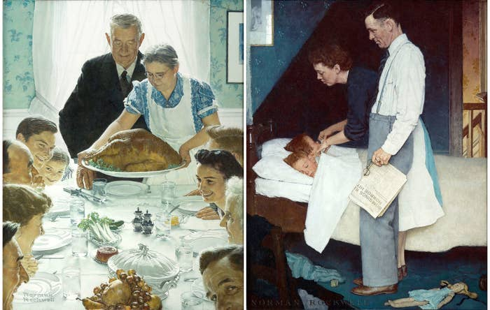 Left: Norman Rockwell, Freedom From Want, 1943. Right: Norman Rockwell, Freedom From Fear, 1943.