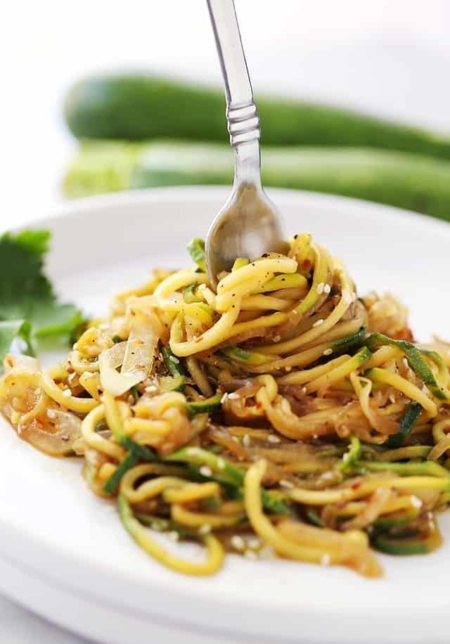 In place of your classic lo mein noodles, give zucchini noodles the staring role in your next stir fry. Then, add whatever vegetables and protein you have in your fridge. Get the recipe.