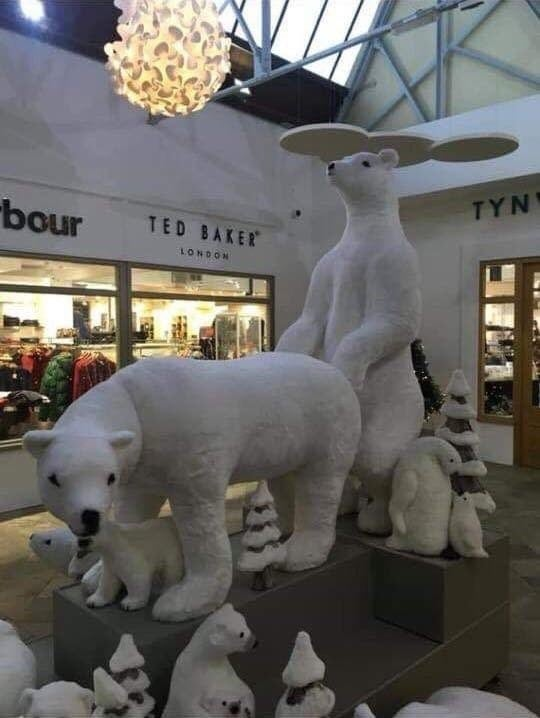 The set-up, located in the atrium area, features penguins, baby polar