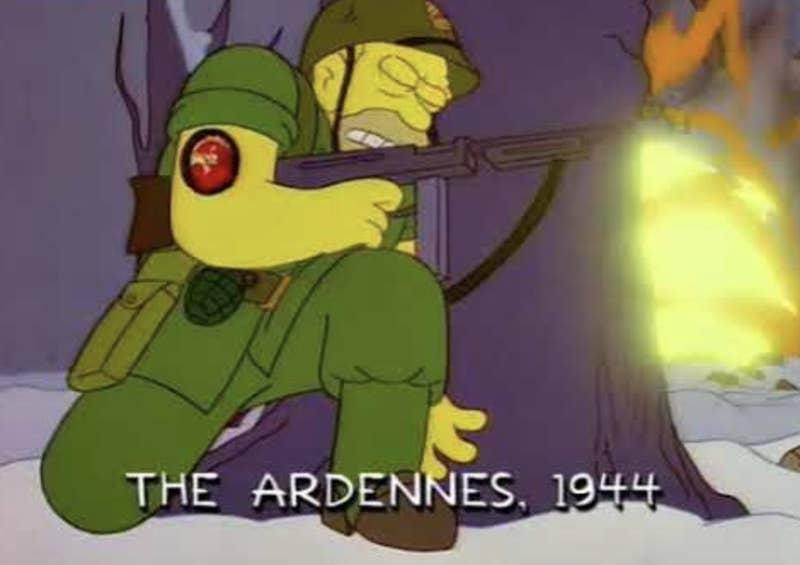 """""""En un episodio, creo que era un episodio de Navidad, aparece Abe Simpson pilotando aviones en el Pacífico Sur durante la Segunda Guerra Mundial, y luego se quedó atrapado en una isla con el Sr. Burns. Pero recientemente mostraron a Abe en Europa"""".—christinam4ee470e81"""