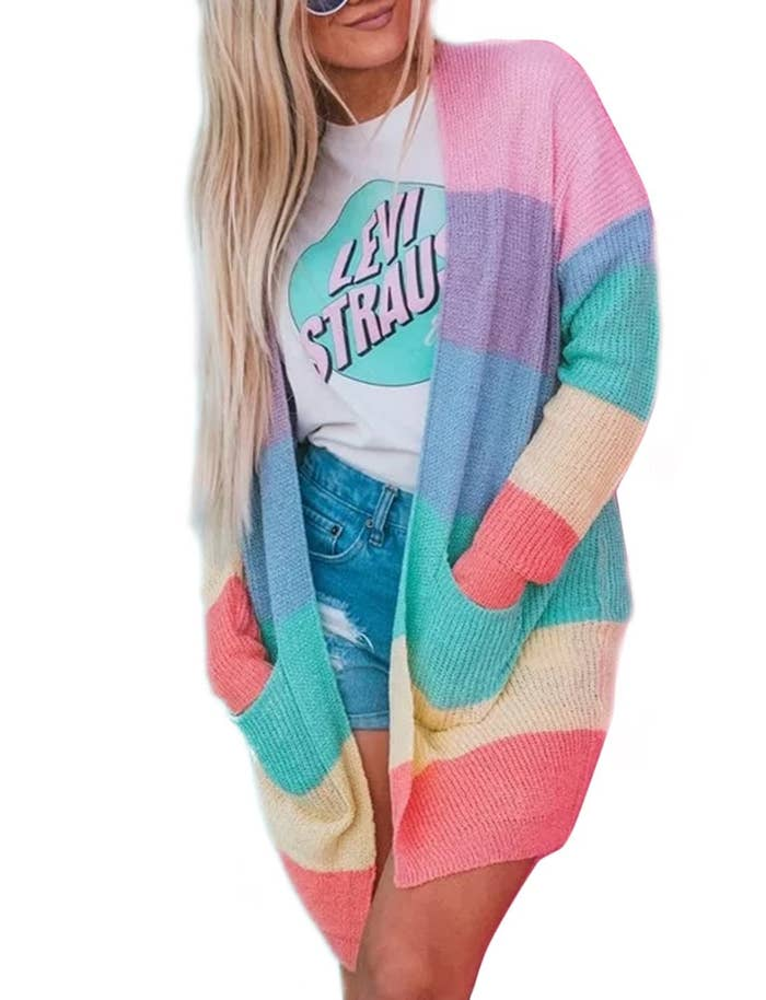 1957ad978e A rainbow striped cardigan to get if you re anything like me