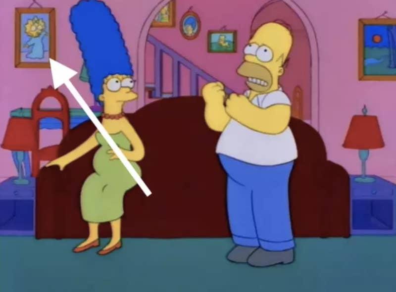 """""""El único que se me ocurre es el flashback en el que Marge estaba embarazada de Maggie pero hay una foto de Maggie en la pared"""".—emmar45d26b031"""
