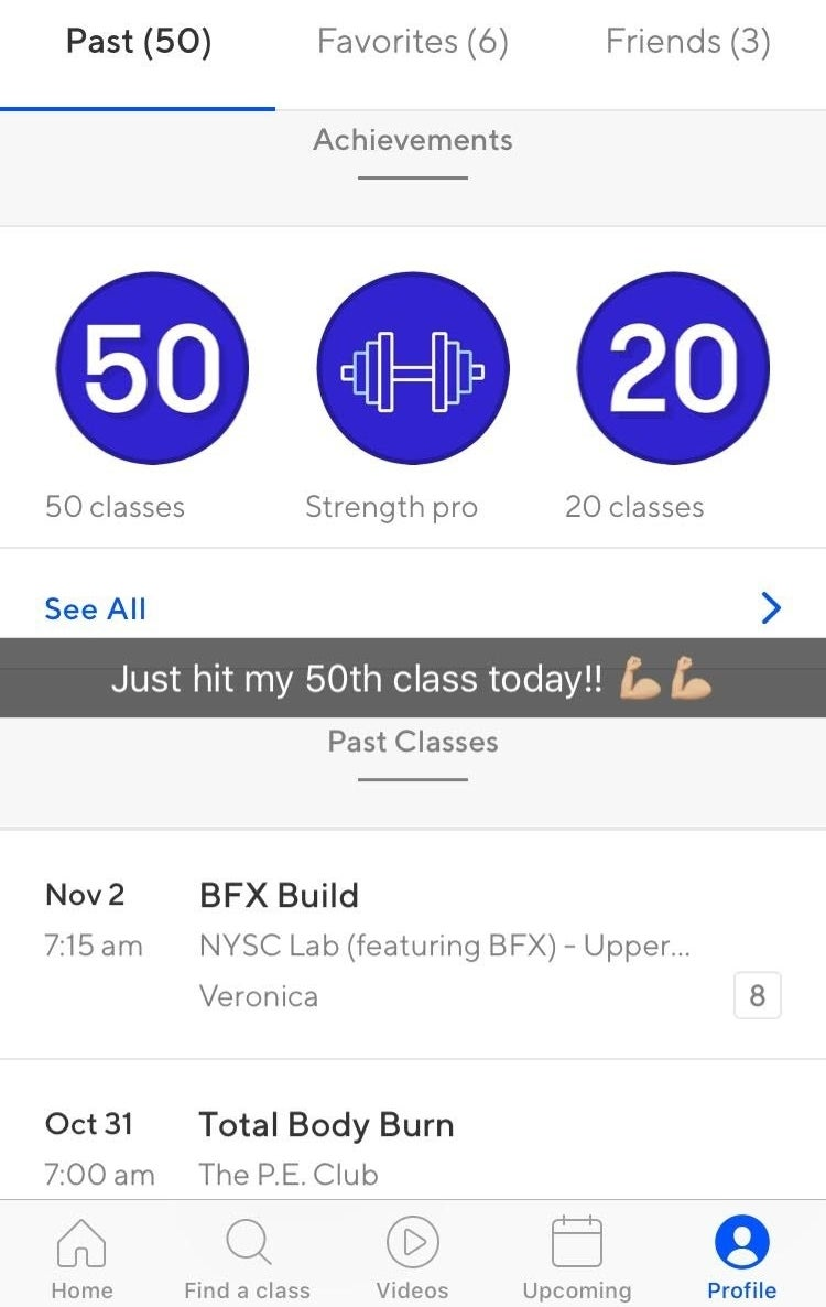 The more credits you pay for per month, the more classes you can take. For New York classes (where I'm located), the average class is eight credits. You can book classes directly through the app, keep track of upcoming classes, star your favorite gyms, connect with friends, rate classes after they're completed, and get access to ClassPass Live. What's ClassPass Live? It's a streaming service that lets you access workouts if you can't actually be there in-person.Above is an older screenshot from the app on my phone. You can see a couple of my past classes and some achievements!