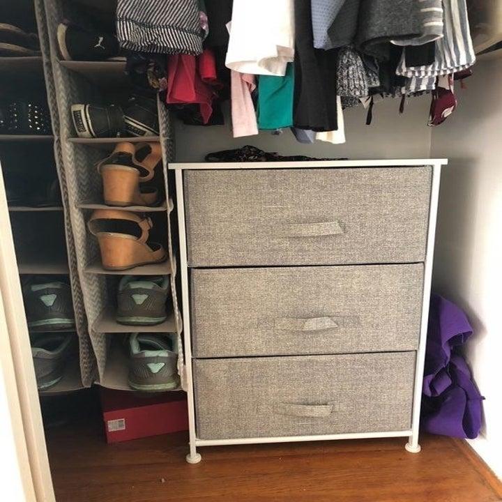 A reviewer's dresser in a closet