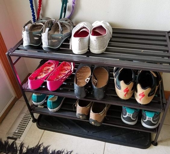 A reviewer's shoe stand