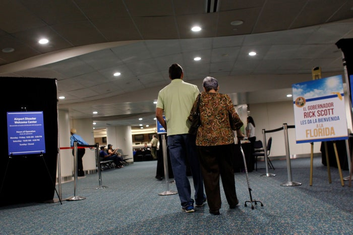 A reception center for Puerto Rican refugees at the Orlando International Airport on Nov. 30, 2017.