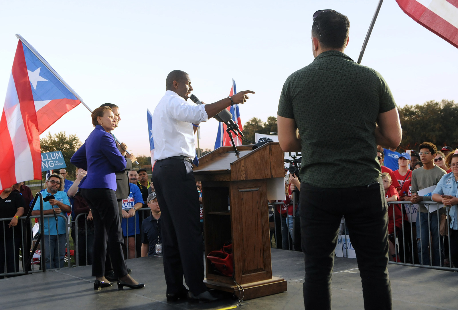 Tallahassee Mayor Andrew Gillum, the Democratic candidate for governor, speaks to supporters at a rally in Kissimmee on Oct. 28.