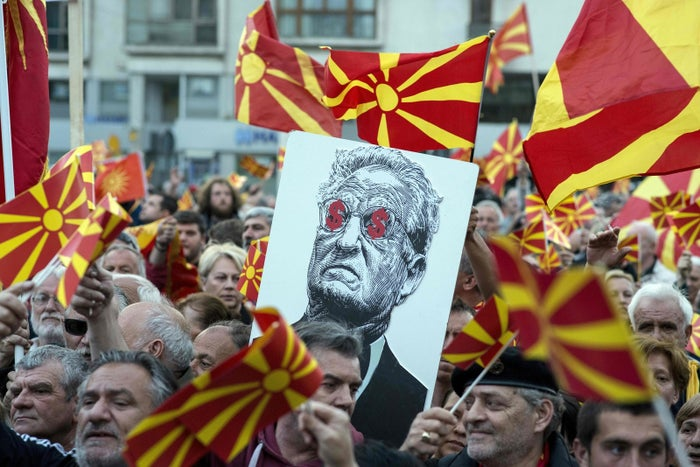 George Soros was a target of demonstrators in Macedonia when it was debating whether Albanian should become an official language.