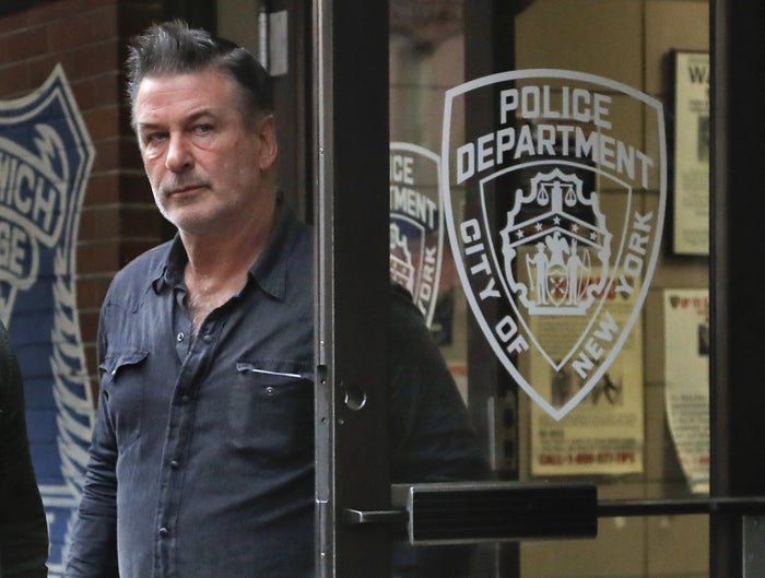 Alec Baldwin walks out of the New York Police Department's 10th Precinct, on Nov. 2, 2018.