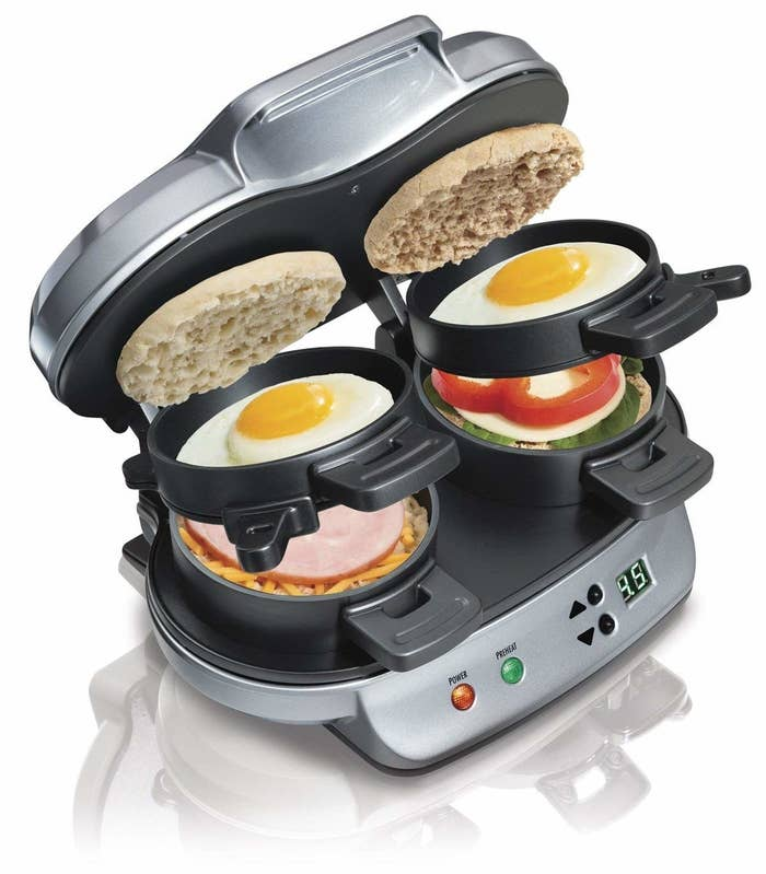 double breakfast sandwich maker open so you can see how things are layered for it