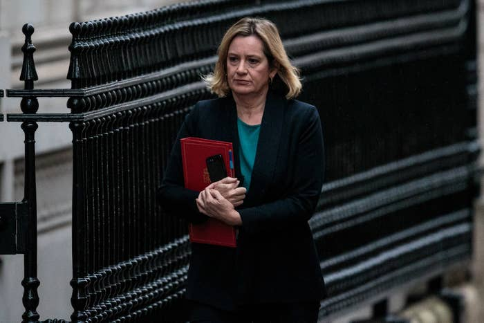 Work and pensions secretary Amber Rudd arrives for a cabinet meeting on Downing Street on Nov. 20, 2018.