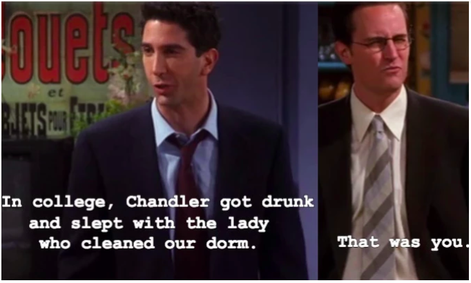 """It's therefore suggested that Ross and Carol had a """"break"""" some time during university, which permitted them to each hook up with other people to see what life was like without one another. Ultimately deciding that they were meant for each other, they got back together and tied the knot. Ross then assumed that the same rule applied to his """"break"""" with Rachel."""