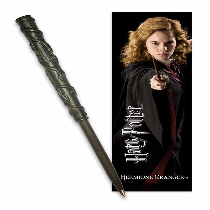 The Hermione wand pen and bookmark; it does the same