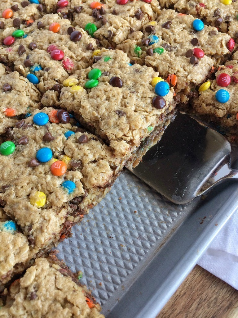 Flourless Monster Cookie Bars  -  These cookie bars are made with oats, so make sure you purchase ones that are labeled gluten-free if needed. Get the recipe .