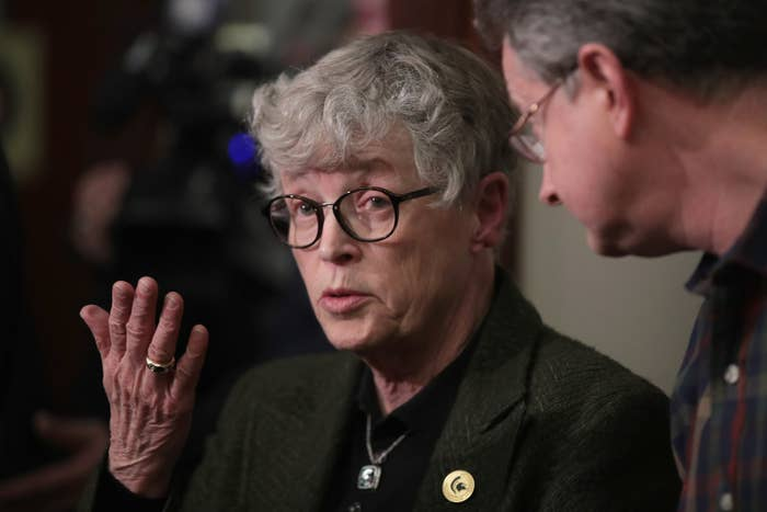 Former Michigan State University president Lou Anna Simon during a break in the sentencing hearing for Larry Nassar.